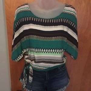 Side tie multi colored striped short sleeve top